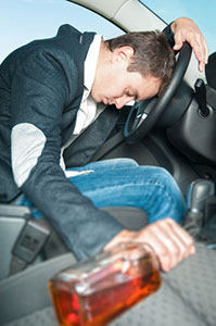 Drunk man sleeps in car