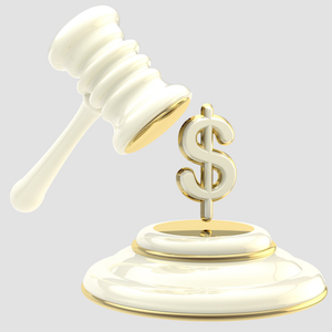 Penalty and fine illustration as isolated golden and glossy gavel breaking dollar sign